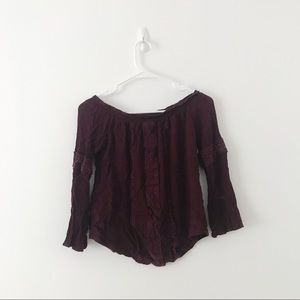 off the shoulder maroon detailed top